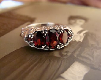 Lovely Sterling Silver Garnet  Ring  Size 5.75 Victorian style