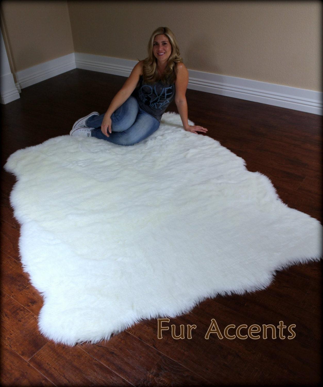 FUR ACCENTS Large Faux Fleece Area Rug / Fake Flokati