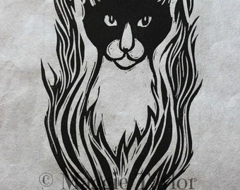 Simon, cat, original hand-pulled linocut relief print on Japanese paper