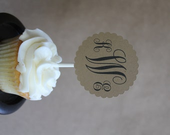 Custom Monogram Cupcake Toppers