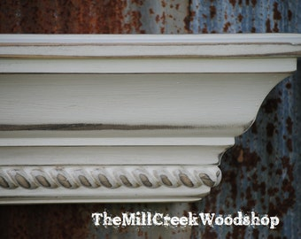 Distressed Wall Shelf 60 Inches Fireplace Mantel with Rope Trim