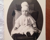 Vintage Real Photograph Postcard, Baby with Knitted Hat, Early 1900s Paper Ephemera