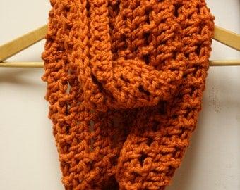 52. Crochet Infinity Scarf: Pumpkin