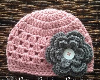 Crochet Baby Girl Pink & Gray Flower Beanie / Newborn Photo Prop /Toddler Hat / Spring Hat/  Sizes Newborn to 5 Years **MADE TO ORDER**