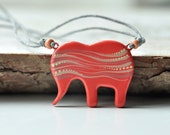 Elephant pendant, Elephant necklace, Red Coral, Gift for her