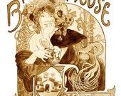 beer art, Bieres de la Meuse, Art Nouveau poster painted using Beer, Mucha, art nouveau, porter, stout, vintage poster