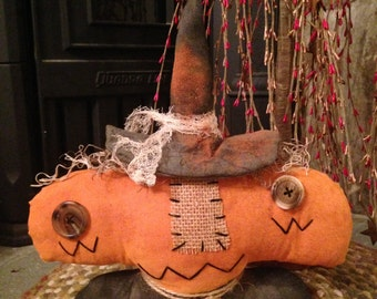 Handmade Primitive Halloween Pumpkin Witch Decoration