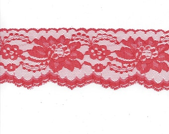 Red Flat Raschel Lace, 3 Inches Wide, BY the YARD, Polyester, Very Pretty! Great for Costumes, Valentine's Day, Christmas Crafts, and More