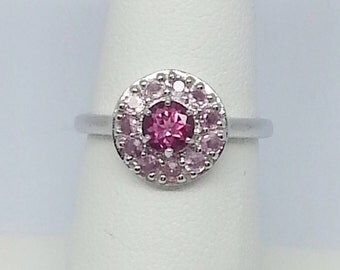 1.05ctw Pink Topaz & Pink Sapphire Sterling Silver Ring Size 7