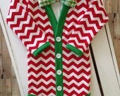 Christmas/Holiday Baby Cardigan: Red Chevron Green Trim with Interchangeable Tie Shirt and Bow Tie