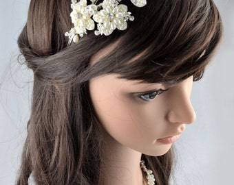 Vintage Crystal Bridal Wedding Ivory Cream Silver Pearl Swarovski Crystal Flower Headband Tiara Tiara