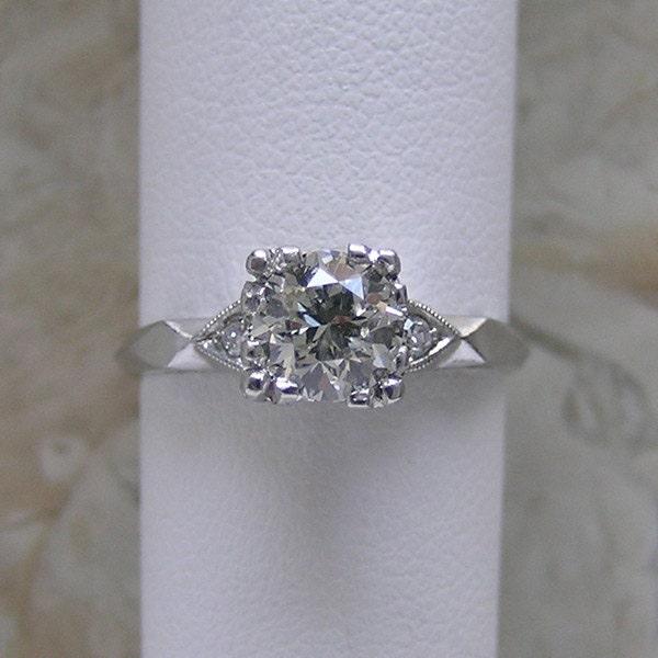Vintage Diamond Engagement Platinum Ring By