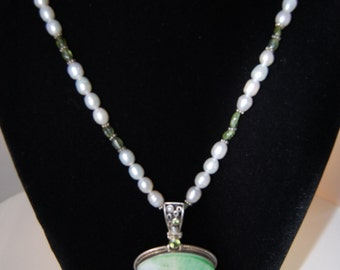 Single Strand Sterling Silver Pearl and Peridot Necklace wtih Druzy Enhancer