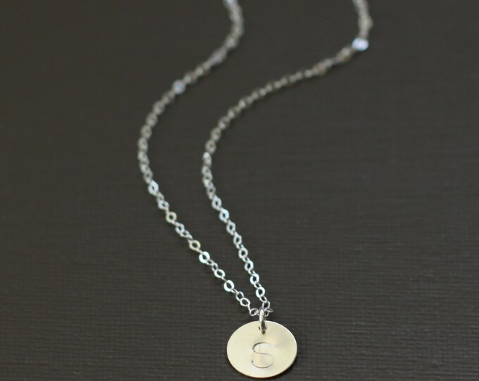 Small Silver Initial Necklace - Sterling Silver Personalized Initial Necklace - Customized necklace