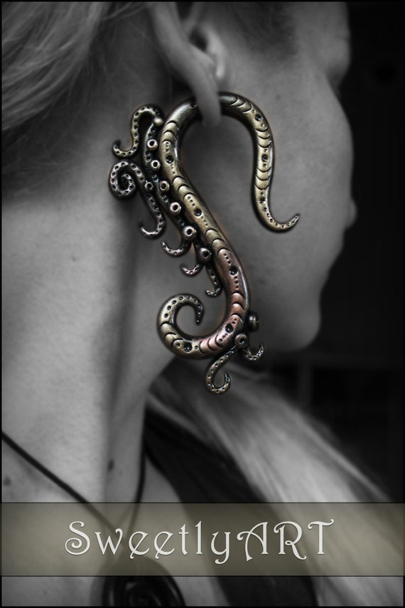 Fake gauge Earrings, octopus gauges, tentacle earrings, steampunk jewelry, festival jewelry, fake ear plug, otopus earrings, tribal gauges
