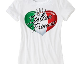 Italian Princess -VA1058- T-shirt Italian Pride Italy  Hardcore Italian Skull Italian Horn
