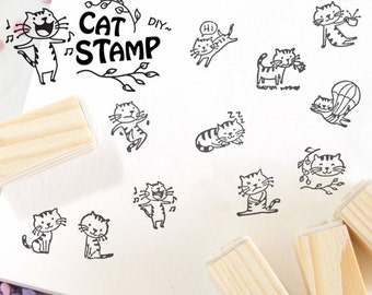 12 kinds Korea DIY decoden Woodiness rubber stamps set - Cat Stamp