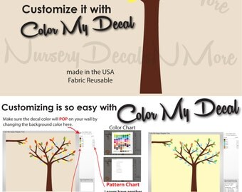 Tree Decals for Nursery, Vinyl Tree Decals (Color Me Happy) RTO, Tree Wall Art Decals