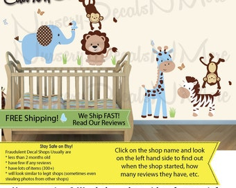 Jungle Animal Decals, Jungle Animal Wall Stickers (SG BlueBrown Animals Only) SGA, Jungle Animal Wall Decals