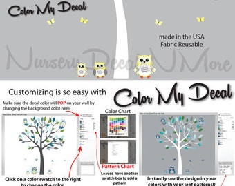 Yellow and Gray Tree Wall Decals with Owls, Owl Decals, White Tree Stickers (Sm Tree, Reg Owl Set Yellow Gray) SOT