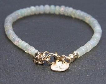 Opal Bracelet. Initial Bracelet. Ethiopian Welo Opal Bracelet. October Birthstone. Opal Jewelry. Personalized Jewelry, Gemstone Jewelry