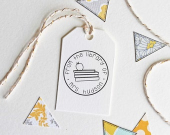 From the library of stamp with books and apple, teacher stamp, teacher gift, wood handle or self inking