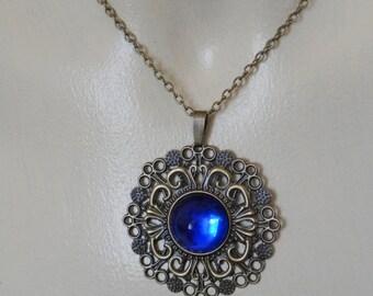 Bronze and blue fantasy seampunk pendant necklace