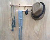 Tie Organizer Hat Rack, Industrial Accessories Holder, Jewelry Display, Necklace Wall Mounted Storage, Steampunk Design, Gift for Men