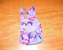 Custom Made My Little Pony Backpack Drawstring Purse with Twilight Sparkle, Ranbow Dash and Pinkie Pie