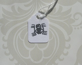 Mini Hang Tag Gift tag Craft supply Label It Black on White Dancing Spider Happy Halloween Holiday 25 tags