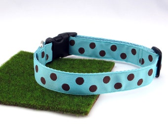 "Brown Polka Dots With Light Blue Spring Summer Dog Collar, 1"" Wide"