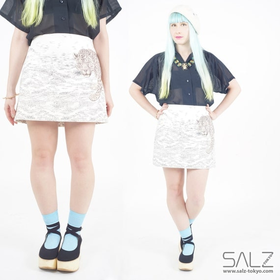 SALE - Leo skirt by Paul Smith, leopard print skirt, animal skirt, cat skirt, white skirt, size M L