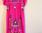 Vintage handmade kaftan mumu cotton embroidered dress mumu Mexican South American #missetsyteam