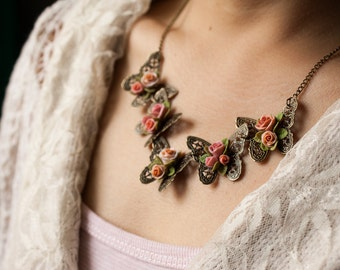 butterfly and rose necklace, polymer clay handmade flower