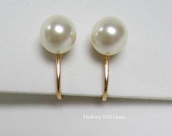 Pearl Clip On Earrings CREAM pearl clip-on earrings SWAROVSKI PEARL 8mm Pearl Clip Ons, Cream Pearl Clip-on Earrings, Gold Plated Clip Ons