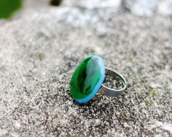 Glass ring, fused, blue with green, medium large, in handmade, adjustable size