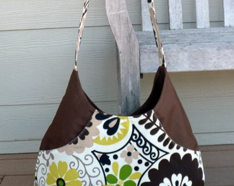 Brown & Green Floral Hobo Bag Purse