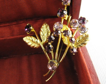 Clearance - 1950s Golden and Amethyst Rhinestone Brooch / Flowers Pin