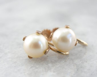 Rose Gold and Fine Pearl Antique Screwback Earrings - XF9LP2-D