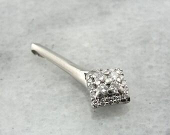 Sophisticated Platinum and Diamond Pendant, Long Sleek Drop - K14XCC-P