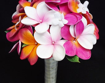 Wedding Silk Plumerias Mix Bridal Bouquet - Fuchsia Orange Natural Touch Silk Flower Wedding Bouquet