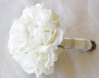 Silk Wedding Bouquet - Natural Touch Off White Ivory Roses and Crystals Silk Flower Bride Bouquet - Almost Fresh
