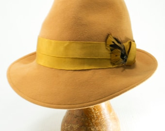 Golden Yellow Colored Fedora, Fur Felt, Trilby, Men's Hat with Pfeasant Feathers