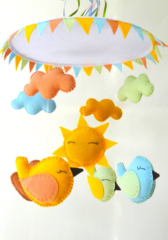 Birds nursery mobile baby crib birds mobile by lapetitemelina for Unusual baby mobiles