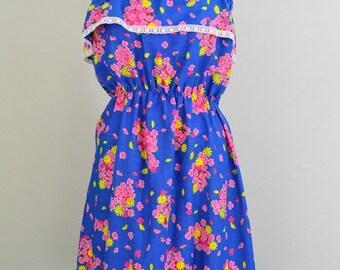 Vintage 1960s - 1970s floral sundress - 60s sundress - 70s sundress  - #retro #rockabilly #picnic #summer