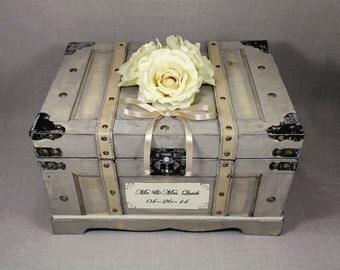 Wooden Wedding Card Box Trunk. Vintage Shabby Chic Wedding Decor. Neutral with Ivory, Champagne, Pearl. Rustic Card Holder. Wooden Money Box