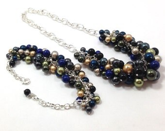CLEARANCE Pearl Bobble Necklace and Bracelet Set