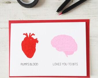 FUNNY HEART BRAIN Funny Card Valentine's Day Red Geek Biology Card Science Nerd Neuroscience Love Greeting Paper Anniversary Wedding Pink Uk