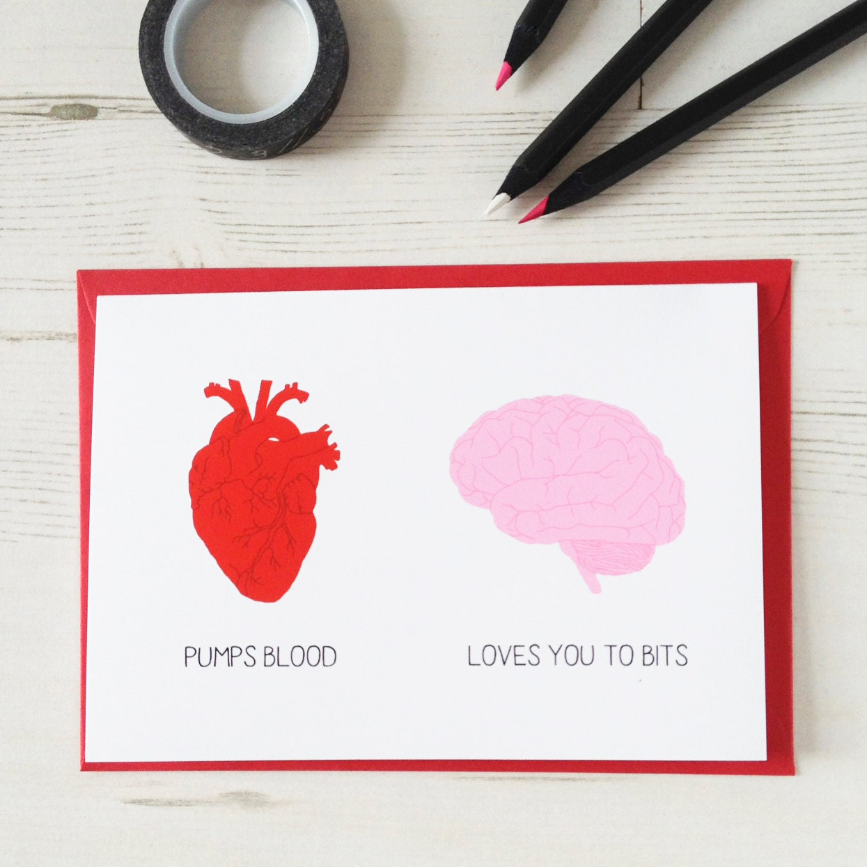 FUNNY HEART BRAIN Funny Card Valentines Day Red Geek – Valentines Cards Uk