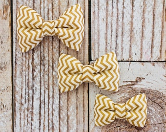 Boy Bow Tie with Elastic - Gold Chevron - Baby, Toddler Boy - Gold and Cream Chevron Bow Tie - Easter